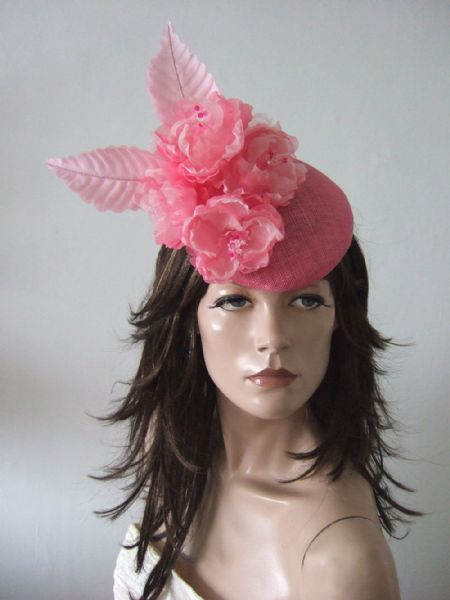 "Candy and Baby Pink Peonies Fascinatior Headpiece Floral Hat ""Nicola"" - Royal Ascot Races"